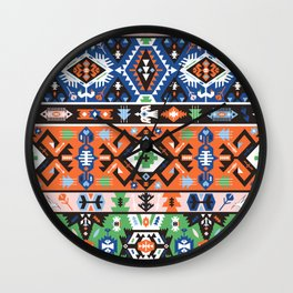 Tribal chic seamless colorful patterns Wall Clock