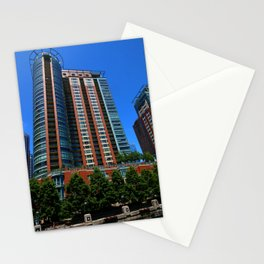 Modern Architecture Along Michigan River Stationery Cards