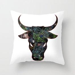 Bull Web Head 2 Throw Pillow