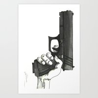 gun Art Prints featuring GUN by Takeru Amano