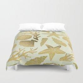 Gold Seashells Duvet Cover