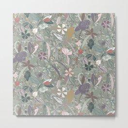 Flower seeds - Morning mist - Grey Metal Print