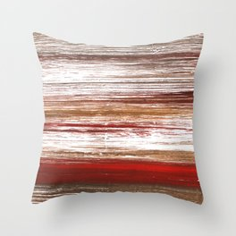 Red brown lines Throw Pillow