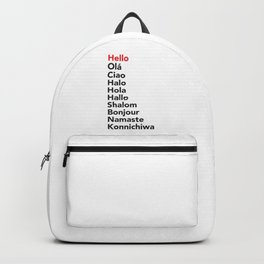 Hello in 10 Different Languages Backpack