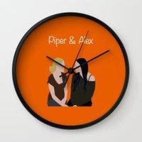 oitnb Wall Clocks featuring Piper & Alex OITNB by Vauseman Addict
