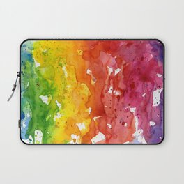 Rainbow Watercolor Texture Abstract Pattern Laptop Sleeve