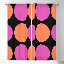 Mid Century Modern Polka Dot Pattern 9 Pink and Orange 2 Blackout Curtain