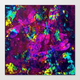 Colorful Dragonflies ZZ Q Canvas Print