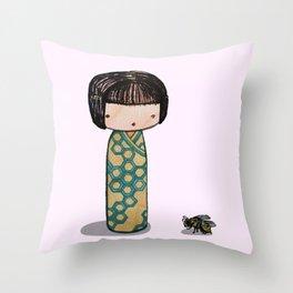 Bee Kokeshi Throw Pillow
