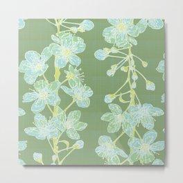 Maiko Blossom Cherry - sage Metal Print
