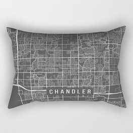 Chandler Map, Arizona USA - Charcoal Portrait Rectangular Pillow