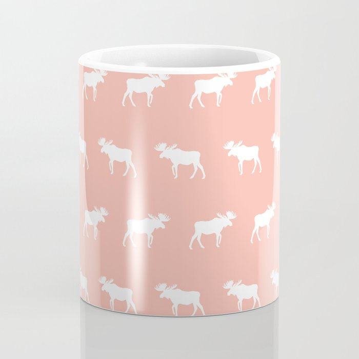Moose pattern minimal nursery basic peach and white camping cabin chalet decor Coffee Mug