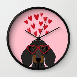 Dachshund dog breed pet art valentines day doxie must haves Wall Clock