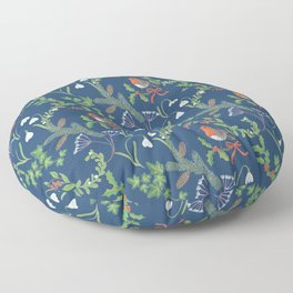 Christmas Chintz with Robin - dark blue Traditional chintz by Cecca Designs Floor Pillow