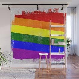 LGBTQ Gay Pride Distressed Halftone Denim Flag Wall Mural