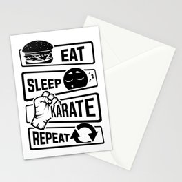 Eat Sleep Karate Repeat - Martial Arts Defence Stationery Cards