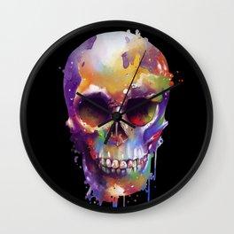 colorful skull black Wall Clock