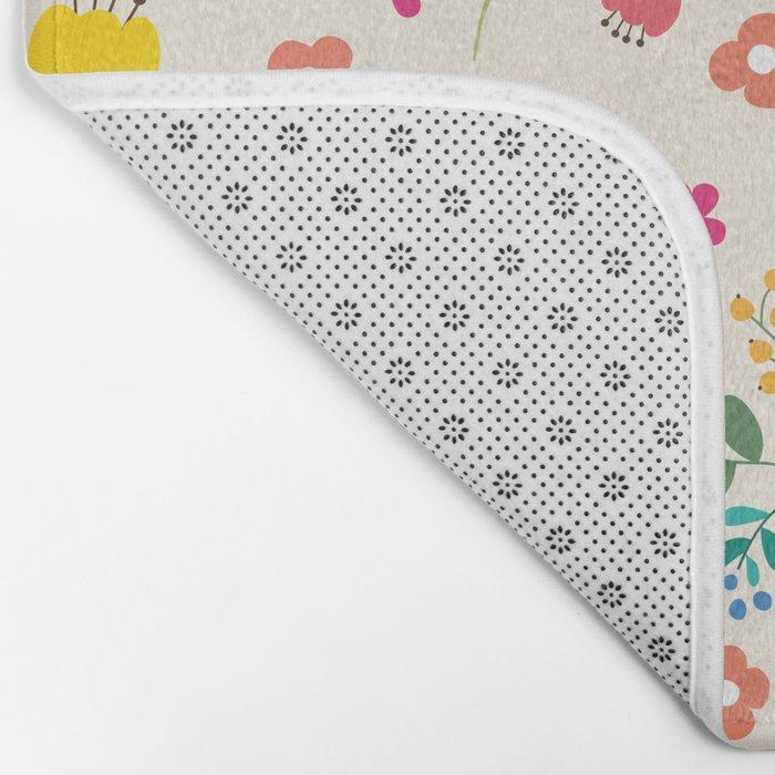 Cute Pastel Spring Flower Pattern Bath Mat