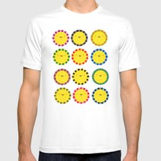 Flowers White Mens Fitted Tee MEDIUM