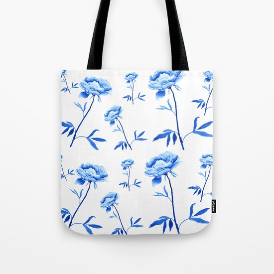 one blue peony painting Tote Bag