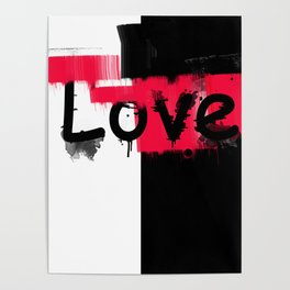 Black and red white pattern Love . Poster