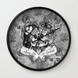 Always Kiss Me Gray Wall Clock