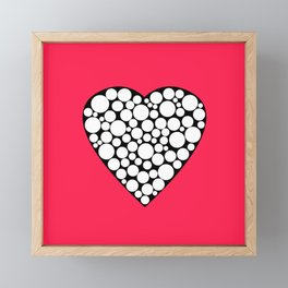 Heart with polka dots . The red background . Framed Mini Art Print