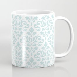 Scroll Damask Lg Pattern Duck Egg Blue on White Coffee Mug
