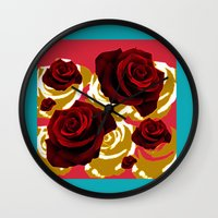 50s Wall Clocks featuring 50s Roses by Marmalademudpie and Me
