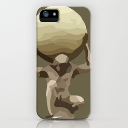Man with Big Ball Illustration brown iPhone Case