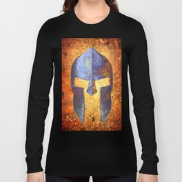 Blue Spartan Helmet On Rust Background - Molon Labe Long Sleeve T-shirt