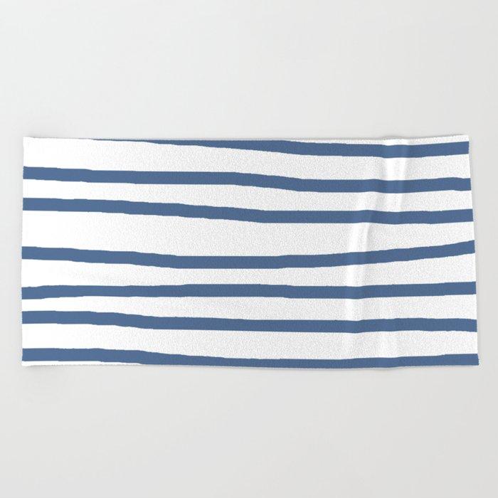 Simply Drawn Stripes in Aegean Blue and White Beach Towel