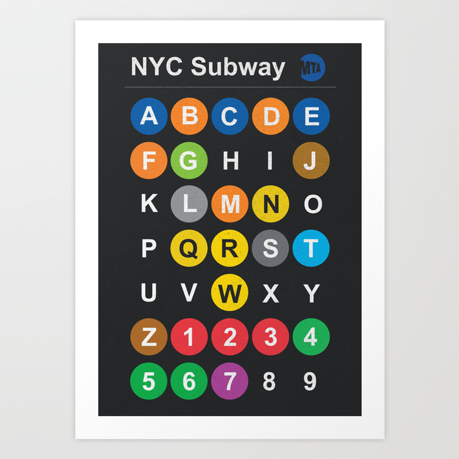 Manhattan Mta Mini Subway Map And Address Finder.New York City Subway Alphabet Map Nyc Lettering Illustration Dark Version Usa Typography Art Print