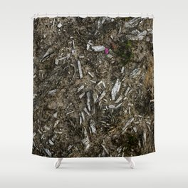 Heather Bell & Wood Fragments Shower Curtain