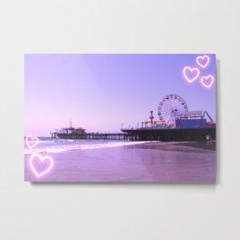 Santa Monica Pier Purple Hearts Metal Print