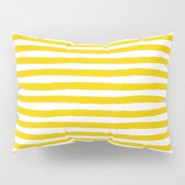 Yellow And White Horizontal Stripes Pillow Sham