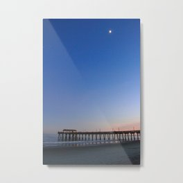 Moon over Tybee Island Pier Metal Print