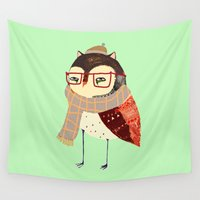 owl Wall Tapestries featuring  Owl by Ashley Percival illustration
