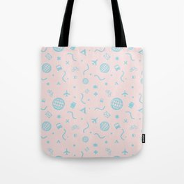 Cityicons Postmodern Travel Print - Pink/Blue Tote Bag