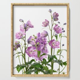 Purple delphinium flowers Serving Tray
