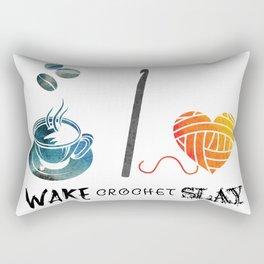 Wake Crochet Slay - Fiber Arts Quote Rectangular Pillow