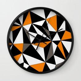 Geo - orange, gray, black and white. Wall Clock