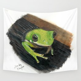 Peekaboo Tree Frog Wall Tapestry