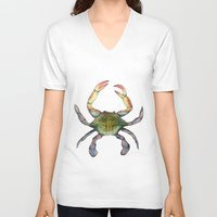 crab V-neck T-shirts featuring Crab by Sara Katy