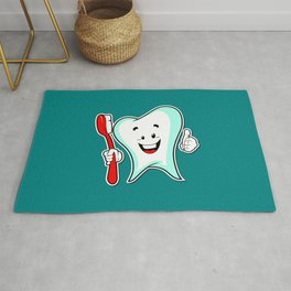 Dental Care happy Tooth with Toothbush Rug