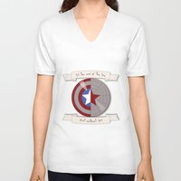 bucky barnes V-neck T-shirts featuring Steve Rogers and Bucky Barnes Shield by Mallory Anne