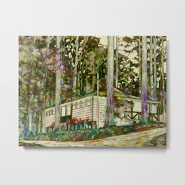 Nature autumn forest house Metal Print