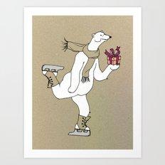 Skating polar bear Art Print