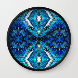 Ripples (Blue, White, Black & Gold Acrylic - Repeat Mirror Pattern - Small) Wall Clock