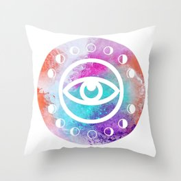 All Seeing Eye in Tie Dye Throw Pillow